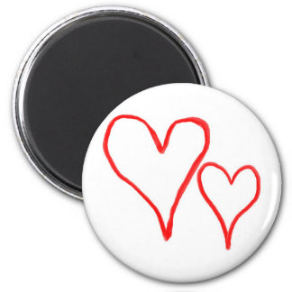 Two red drawn heart outlines, different sizes fridge magnets