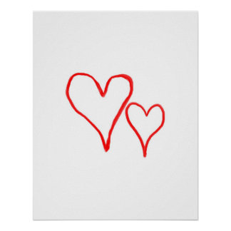 Two red drawn heart outlines, different sizes poster