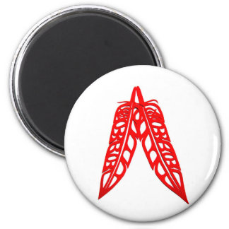Two Red Feathers 2 Inch Round Magnet