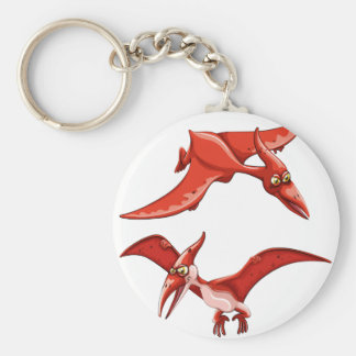 Two red flying dinosaurs basic round button keychain