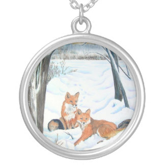 Two Red Foxes Round Pendant Necklace