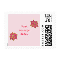 Two Red Green Coleus Your Message on Pink Stamps