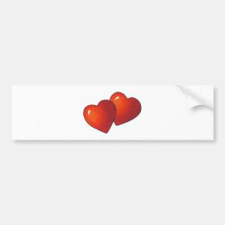 Two Red Heart: Valentine: Love: Art Bumper Sticker