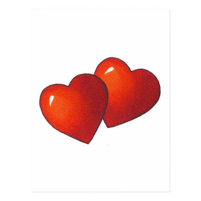 Two Red Heart: Valentine: Love: Art Postcard