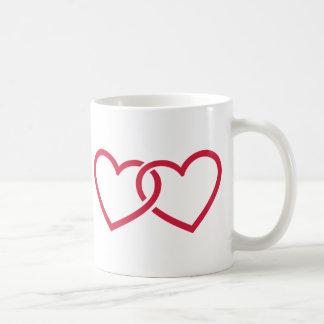 Two red hearts coffee mugs