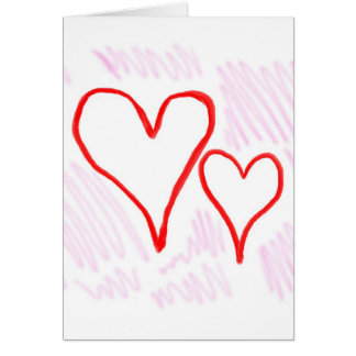Two red hearts design, love or Valentine's Greeting Card