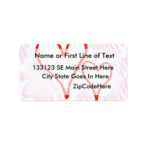 Two red hearts design, love or Valentine's Personalized Address Labels