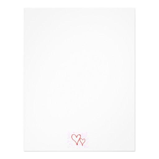 Two red hearts design, love or Valentine's Letterhead