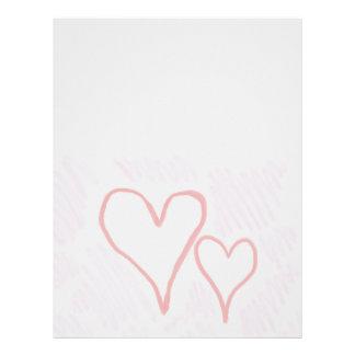 Two red hearts design, love or Valentine's Letterhead Design