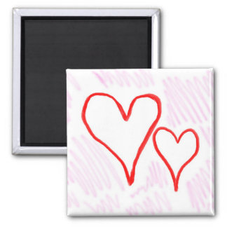 Two red hearts design, love or Valentine's Refrigerator Magnet