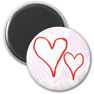Two red hearts design, love or Valentine's Refrigerator Magnets
