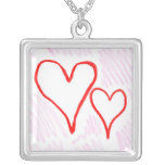 Two red hearts design, love or Valentine's Pendants