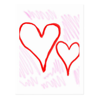 Two red hearts design, love or Valentine's Postcard