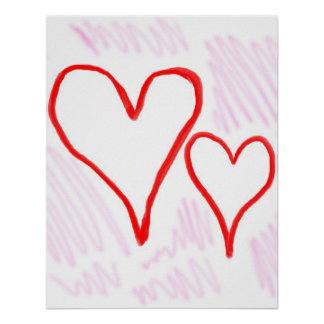 Two red hearts design, love or Valentine's Poster
