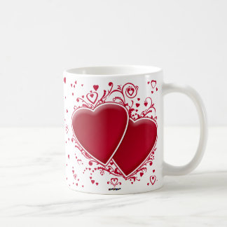 Two Red Hearts For Valentine's Day Coffee Mug
