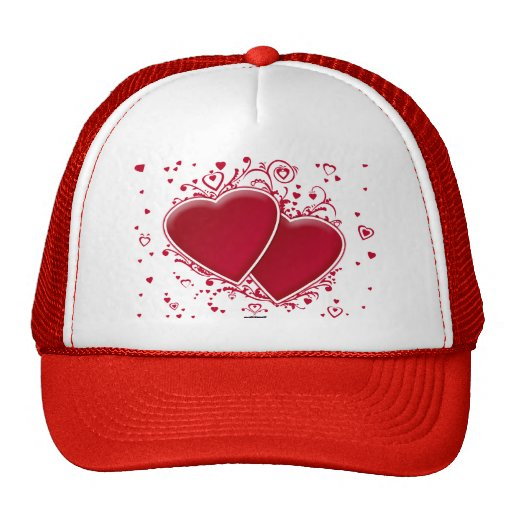 Two Red Hearts For Valentine's Day Hats