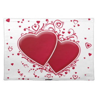 Two Red Hearts For Valentine's Day Placemat