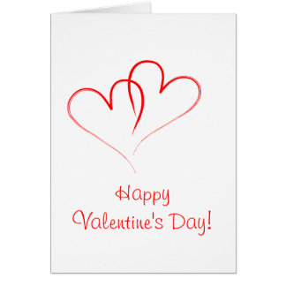 Two red hearts - Happy valentine's day! Card