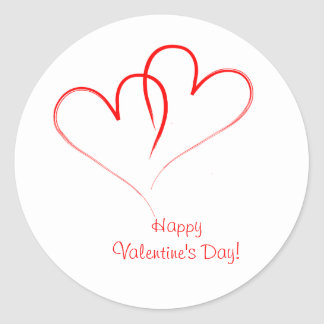 Two red hearts - Happy valentine's day! Classic Round Sticker