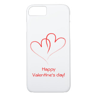 Two red hearts - Happy valentine's day! iPhone 7 Case