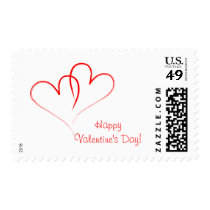 Two red hearts - Happy valentine's day! Postage