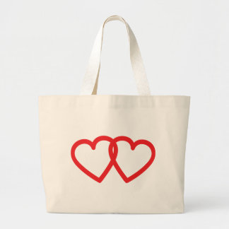 two red hearts icon canvas bags