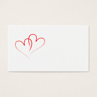 two red hearts intertwined business card
