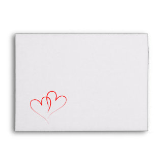 Two red Hearts intertwined Envelopes