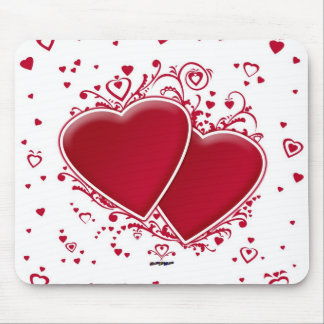 Two Red Hearts Mouse Pad