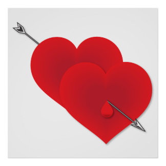 Two red hearts poster