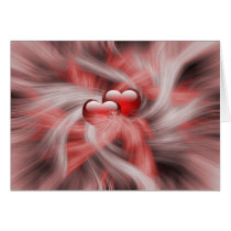 two red hearts romantic swirls card