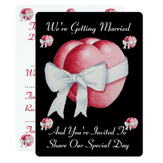 two red hearts with white bow romantic wedding card