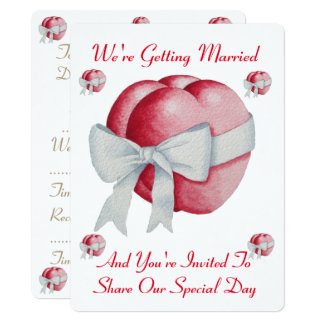 two red hearts with white bow wedding card