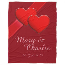 Two Red Hearts   Your Name and Date Fleece Blanket
