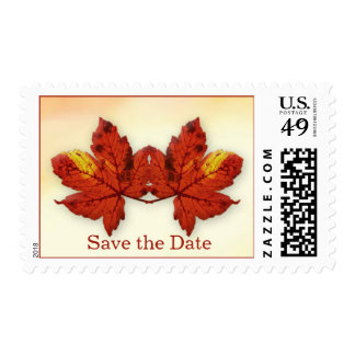 Two red maple leaves Wedding Save the Date Postage