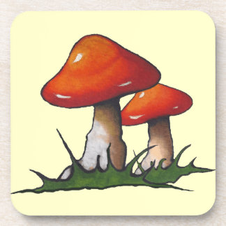 Two Red Mushrooms: Toadstools: Freehand Art Coasters