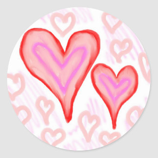 Two red pink purple hearts surrounded by small classic round sticker