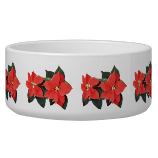Two Red Poinsettias Dog Water Bowl