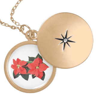 Two Red Poinsettias Round Locket Necklace