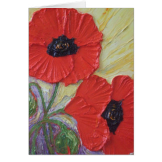 Two Red Poppies Mother's Day Card