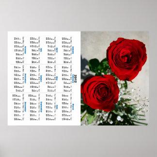 Two Red Roses Calendar Poster Rose Flower Design