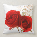 Two Red Roses Custom Background Color Throw Pillows