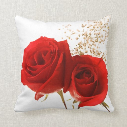 Two Red Roses Custom Background Color Throw Pillow Zazzle