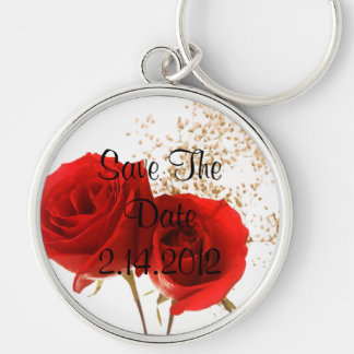 Two Red Roses Silver-Colored Round Keychain