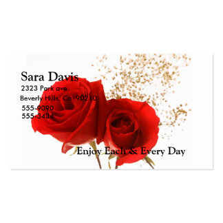 Two Red Roses On Custom Color Double-Sided Standard Business Cards (Pack Of 100)