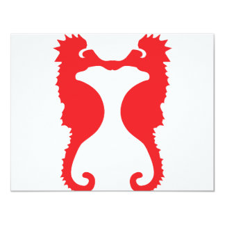 two red sea horses icon card