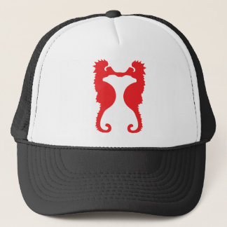 two red sea horses icon trucker hat