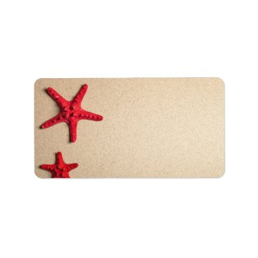 Beach Themed Two Red Starfish On Beach Background Label