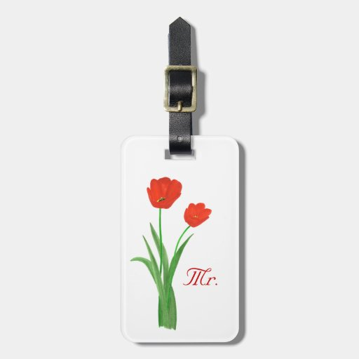 Two Red Tulips Personalized Mr. Luggage Tags