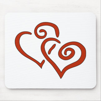 Two Red Valentine's Day Hearts with Spirals Mousepads